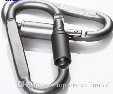 500 pz spedizione gratuita lega di alluminio a forma di D bloccaggio moschettone a scatto portachiavi attività all'aperto