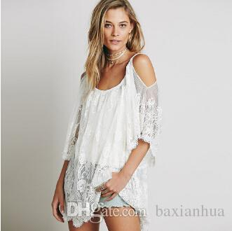Sexy lace hollow out sheer party women dresses 2016 fashion embroidered Charming Beach Wear Dresses