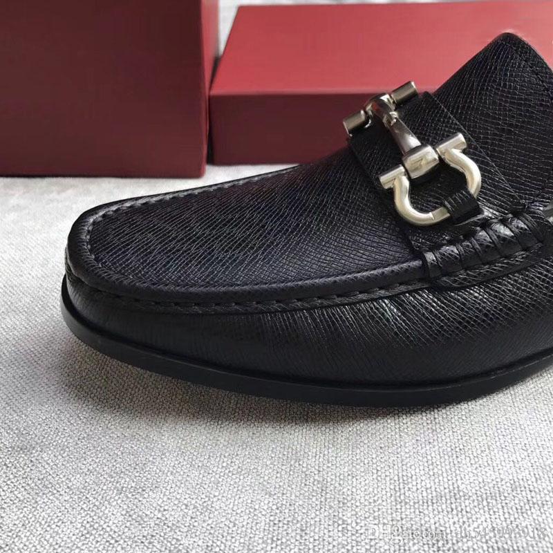 الفاخرة 2020 أحذية ذات جودة Gancio مزخرف حذاء بدون كعب في جلد العجل النائم على الرجال المطاط وحيد عارضة جلد طبيعي الشحن المجاني