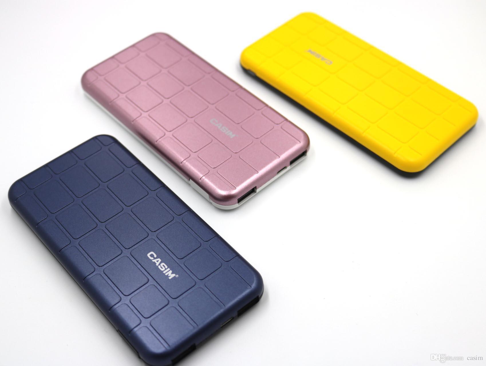 CASIM Güç Bankası 2 USB 10000 mAh 2.1A Güç Bankası Telefon Şarj SUEGE Serisi iphone Samsung S8 S8 Artı Cep Telefonu Ile Ambalaj