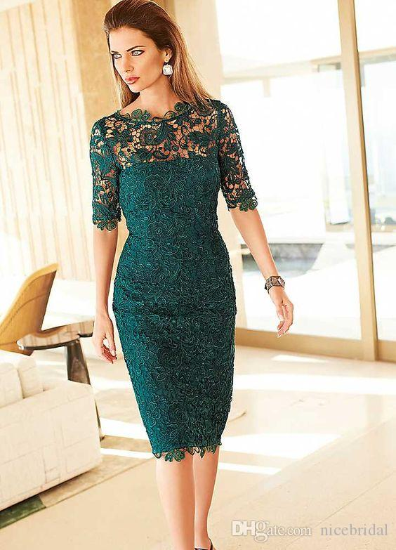 Dark Green Cocktail Party Dresses With Half Sleeve For Women Ladys ...