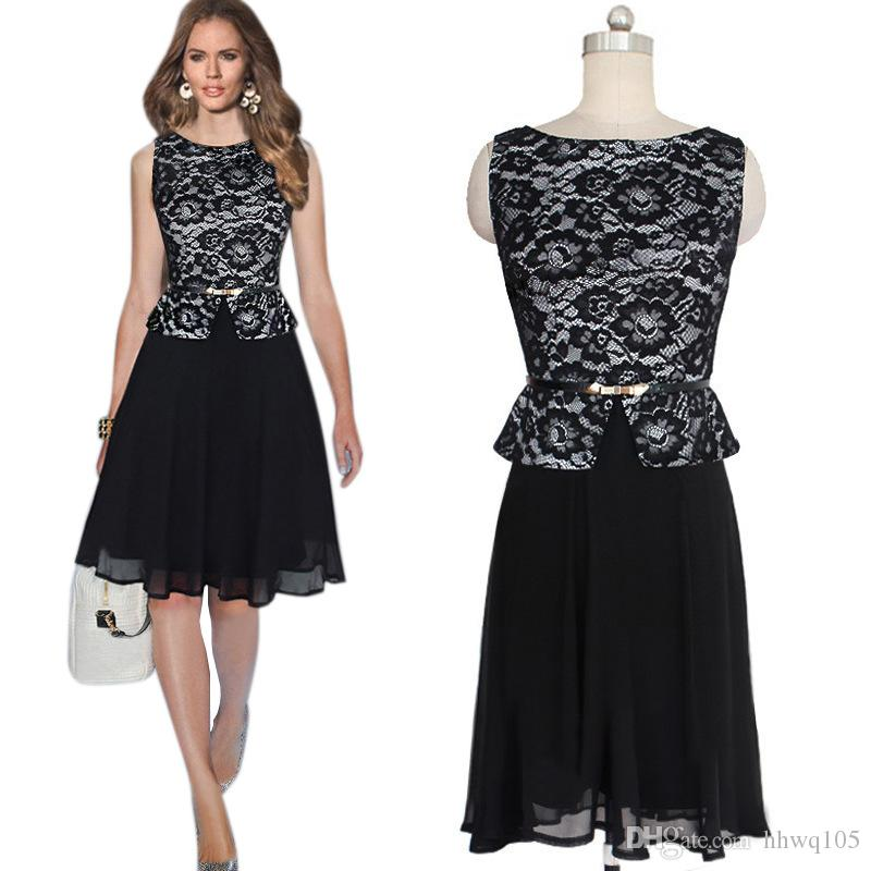 Black Peplum Chiffon Dress