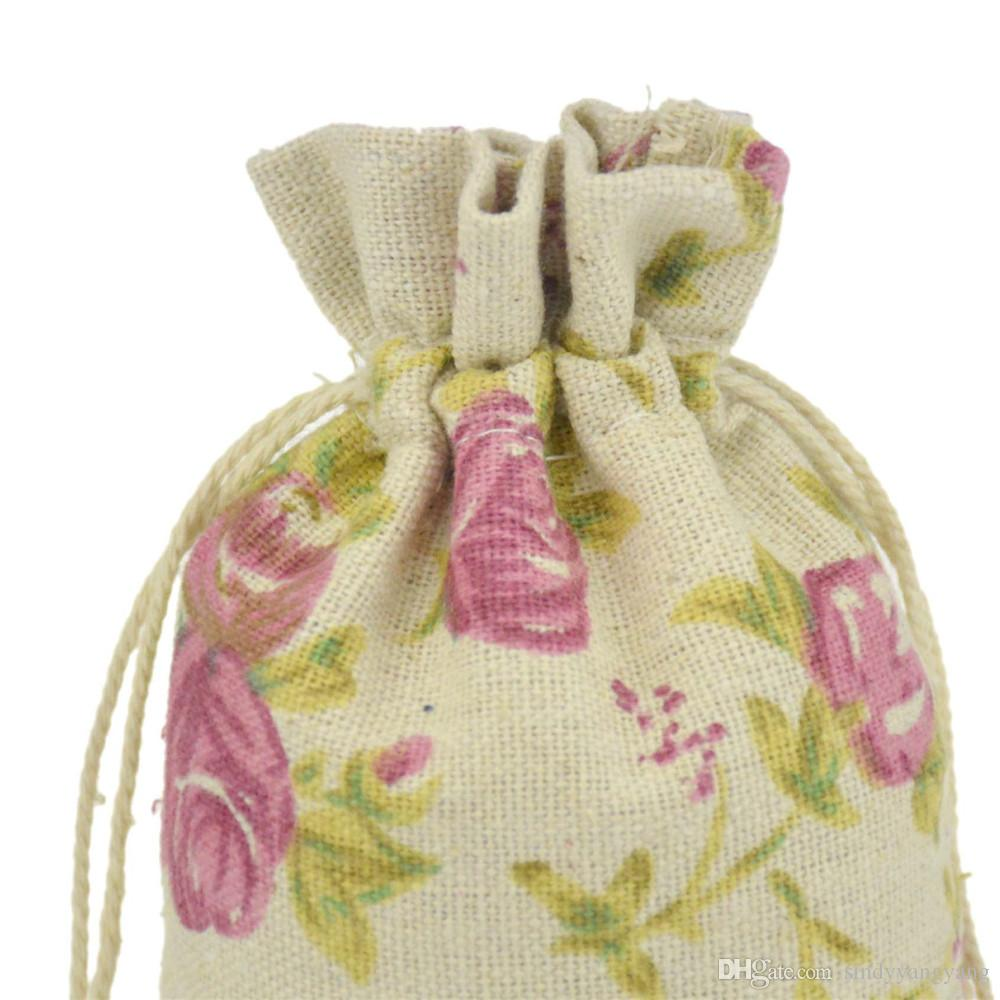 Printed Cotton bag Drawstring bags Gift Candy Beads Bags for Storage/ Wedding Decor candy color Packing Bags Custom Logo 9.5*13.5cm