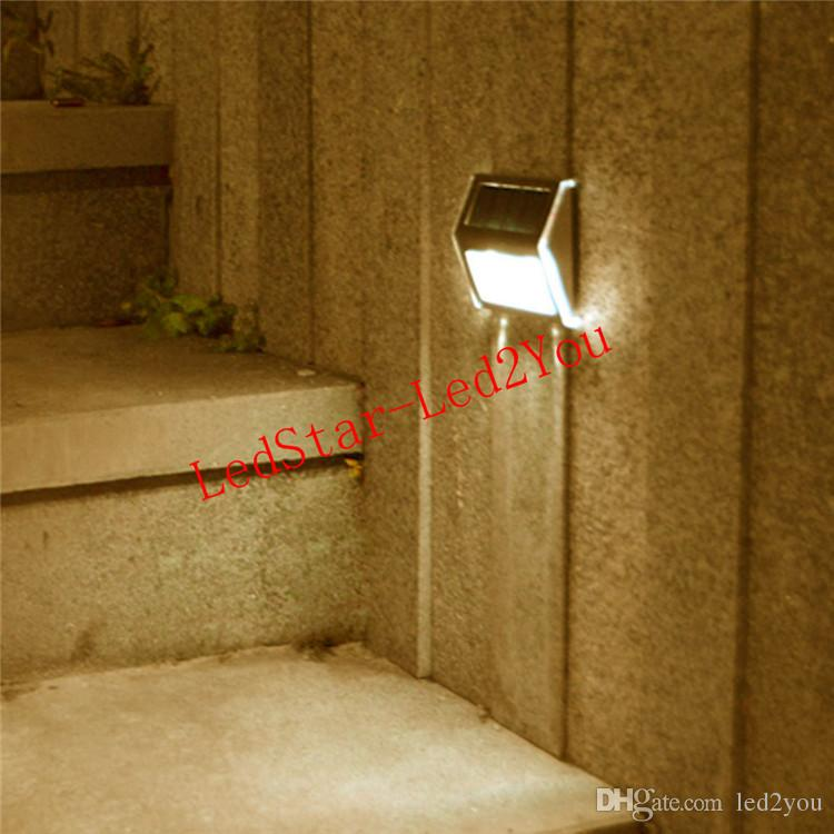 Solar Power LEDs Outdoor waterproof Garden Pathway Stairs Lamp Light Energy Saving LED Solar wall Lamp Warm White / Cold white