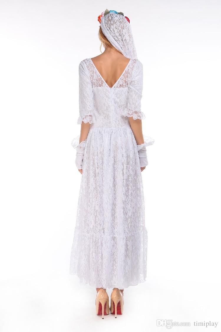 Halloween Wholesale-Fantasma Sposa Costumi donne costumi sexy adulti cosplay bianco pizzo maglia partito gioco uniforme WS048 Il costume da vampiro