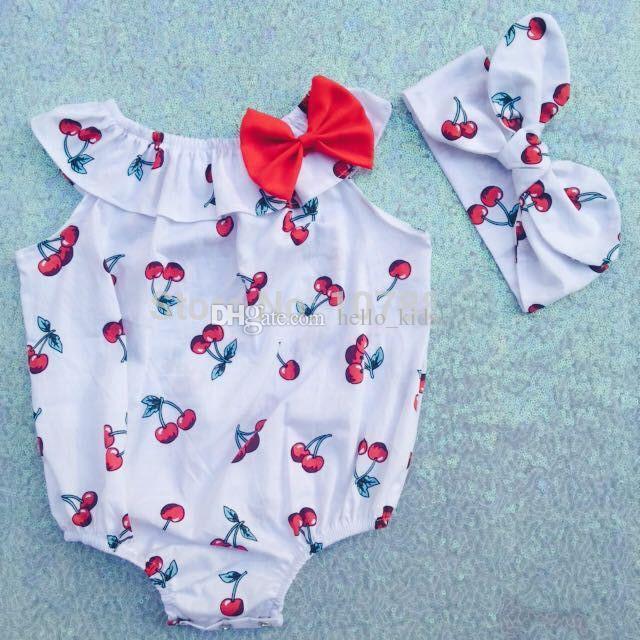 2017 Chegam Novas Verão Rosa Do Vintage inspirado Floral Meninas Do Bebê Sem Mangas Romper + Headbands 2 Peça Define Crianças Roupas