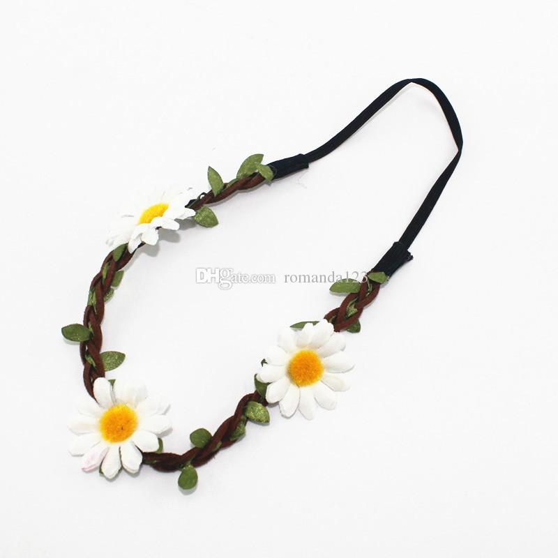 DHL Bohemian Style Travel garland sunflower hair band accessories Elastic hair band Wedding Hair Jewelry