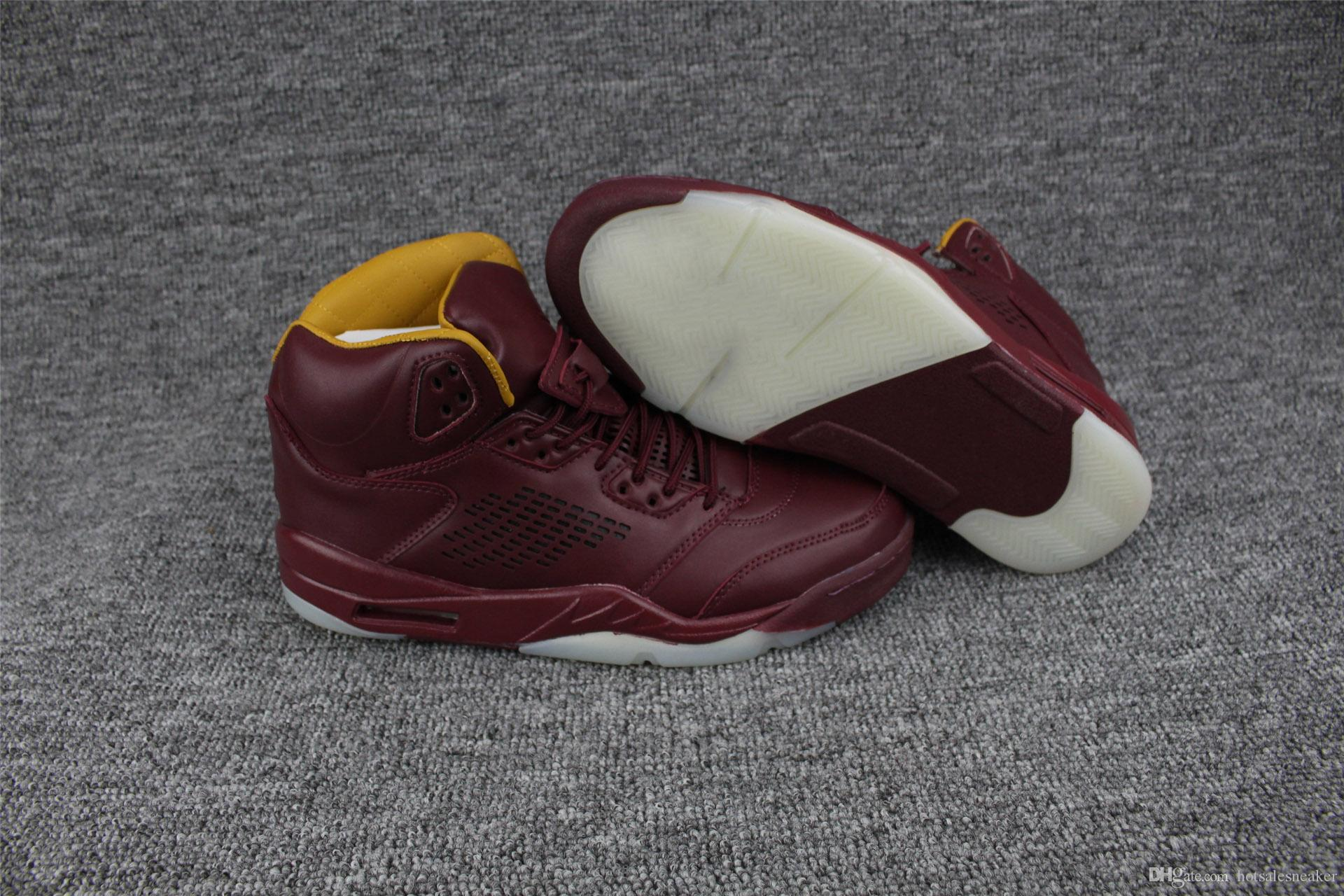 New Arrival Air 5 Shoe Premium Bordeaux Man Basketball Shoes Wine ... b5eee035d