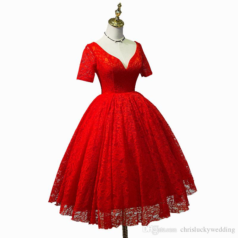 Red Ball Gown Beach Country Wedding Dresses Short Sleeves Knee Length Sweetheart Tulle Plus Size Beach Wedding Dress Lace-Up Back Gowns