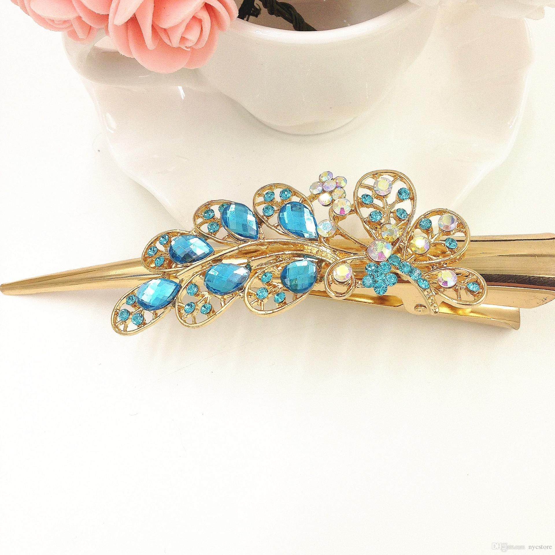 Alloy crystal flowers horn shape large mouth hair clips women fashion hairclips hairpins hair barrettes wedding favors