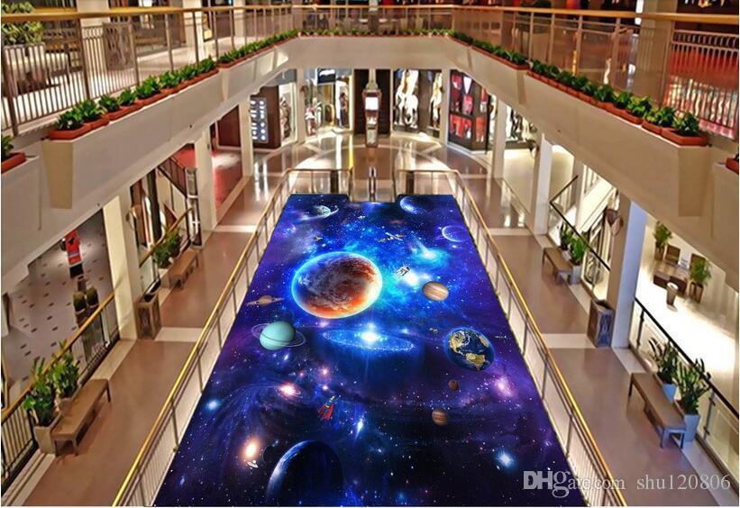 3d pvc الأرضيات مخصص صور للماء ذاتية اللصق الطابق الجدار ملصق المجرة الكونية السماء 3d الجداريات ورق الحائط غرفة ديكور اللوحة