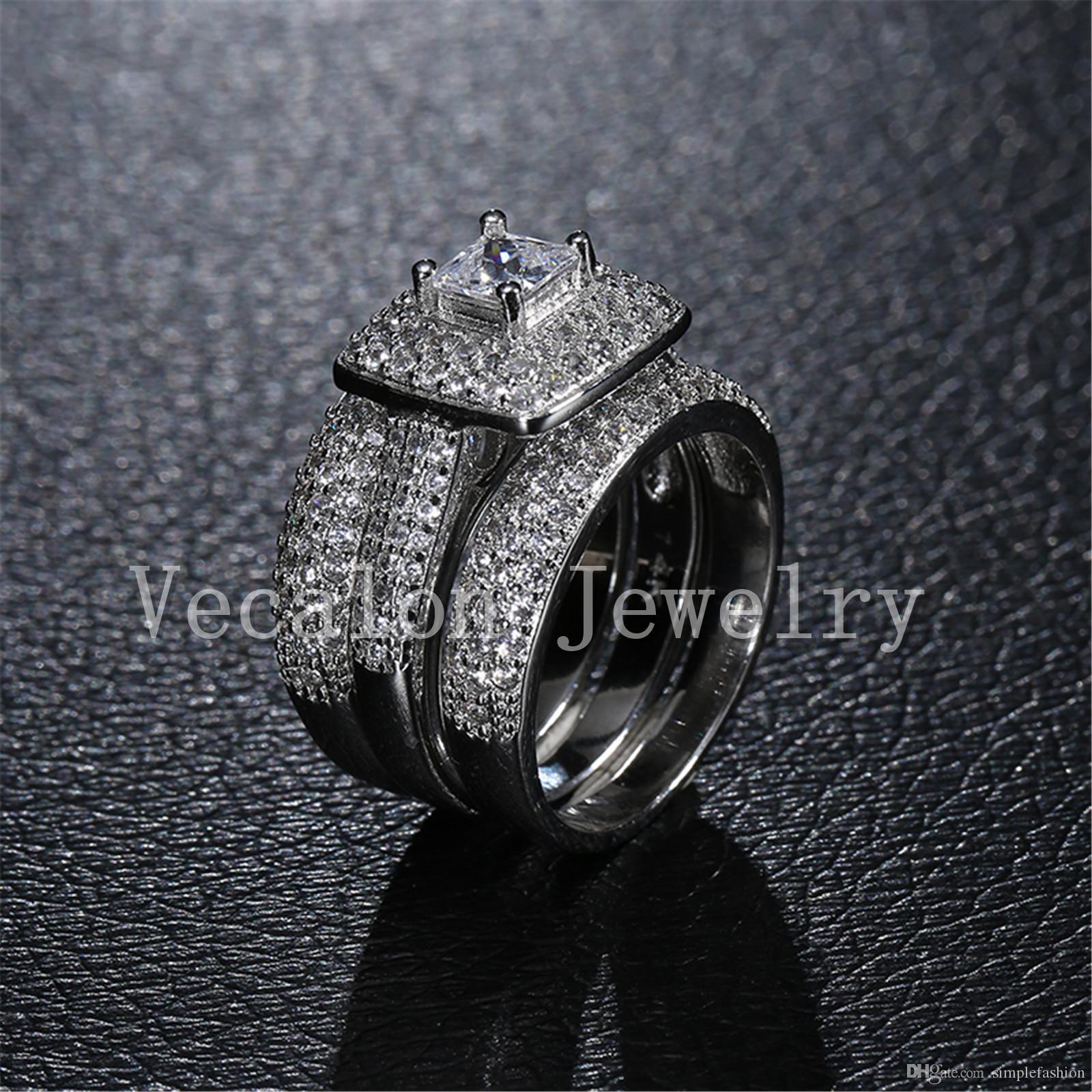 Vecalon توباز مقلد الماس تشيكوسلوفاكيا 14KT الذهب الأبيض معبأ حزام الفرقة مجموعة 3 في 1 خطوبة زفاف للمرأة سهير محمد 5-11