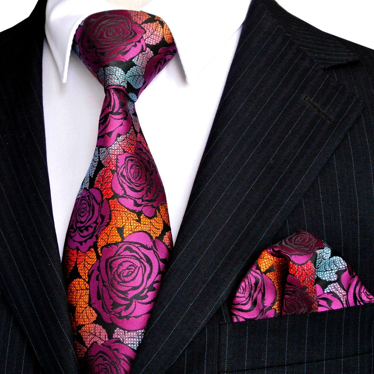 385d879c11b7d Compre Envío Gratis E12 Sistemas De Corbata De Los Hombres Rosa Multicolor  Fucsia Rojo Amarillo Azul Floral Corbatas Bolsillo Cuadrado 100% Seda Nueva  Venta ...