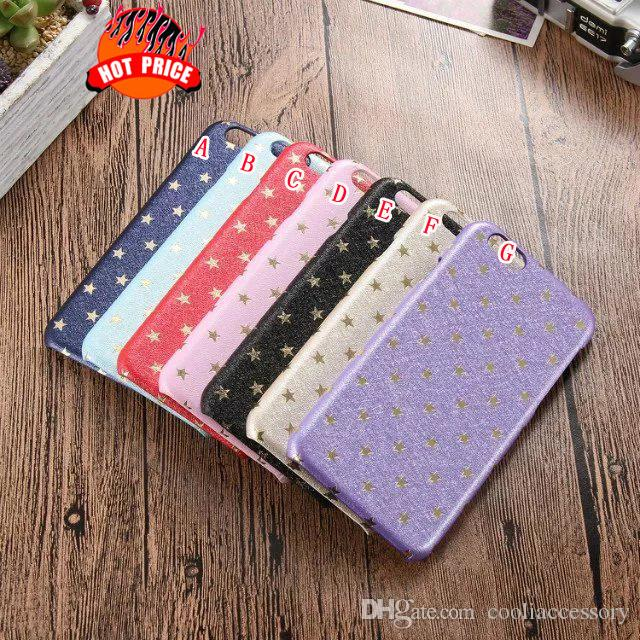Star Silk Hard PC Leather Case For Samsung Galaxy S7 S6 Edge Plus Iphone 6 6S Plus 5.5 4.7 I6S I6 Skin Colorful Cell phone Back Cover Luxury