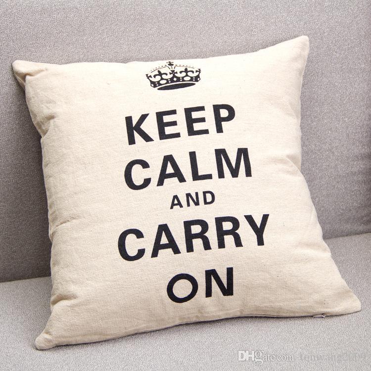 Funda de almohada con estampado de corona Decoración para el hogar Lino Algodón Blended Crown Funda de cojín Mantenga la calma y continúe Throw Pillow Case Negro Blanco