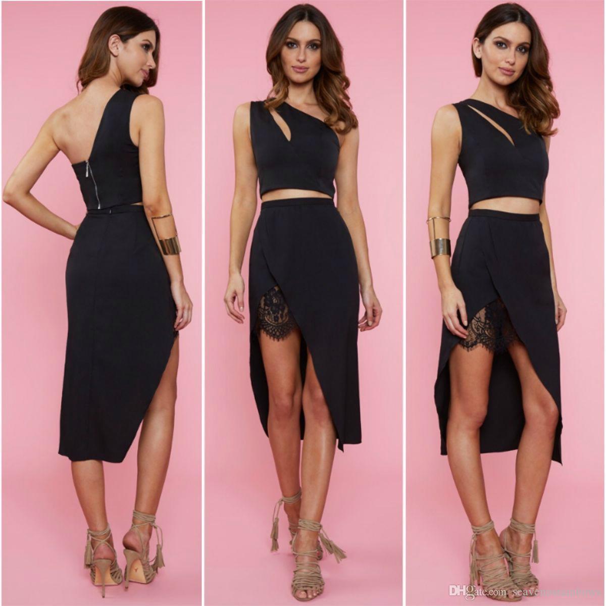 Compre Dos Juegos De Vestido De Fiesta Negro Sexy Nightclub Lace ...