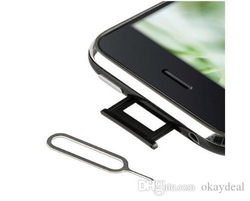 Großhandel 3000 Teile / los Neue Sim Karte pin Für IPhone 7 6 5 4 Handy Werkzeugbehälter Halter Auswerfen Pin Metall