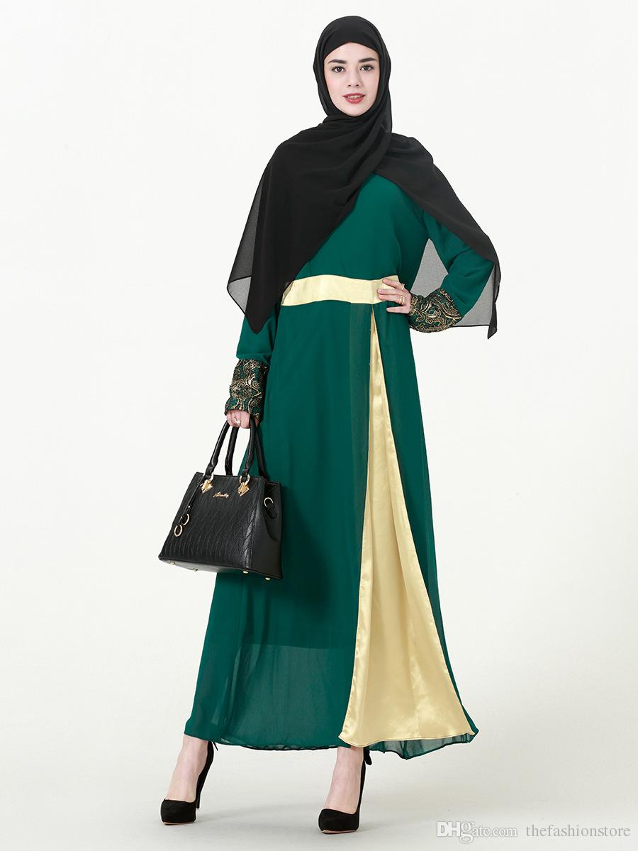 New Muslim Women Patchwork Kaftan Dress Plus Size Islamic Women Long ... 950ac66fe06d