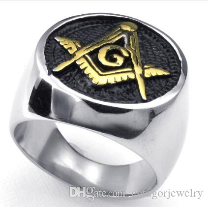 316L Stainless Steel Casting Golden Freemasonry Freemasons Symbol Ring SZ#7-14,Free and Accepted Masons