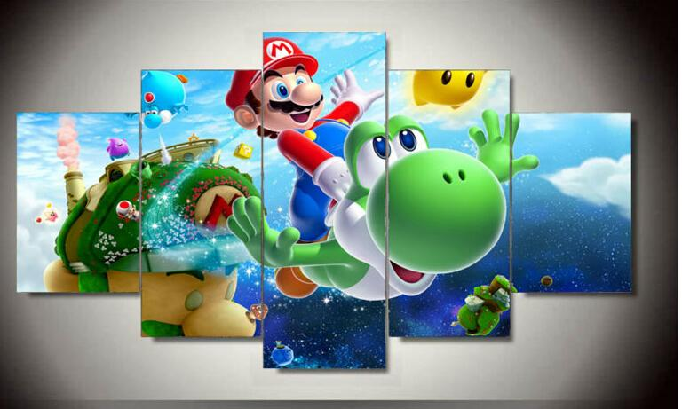 5 Panel Wall Art cartoon Group Oil Painting super mario galaxy On Canvas For Wall Decor Wall Art Gifts for children F/1284