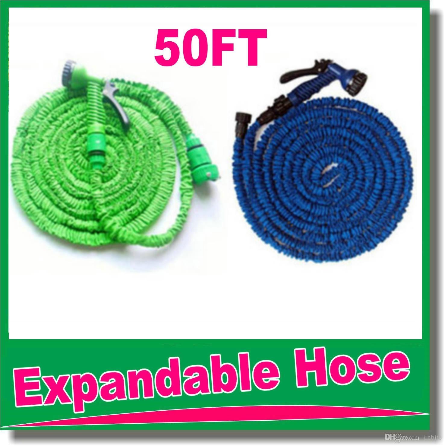 high quality 50FT retractable hose/Expandable Garden hose Blue Green color fast connector water hose with water gun OM-D9