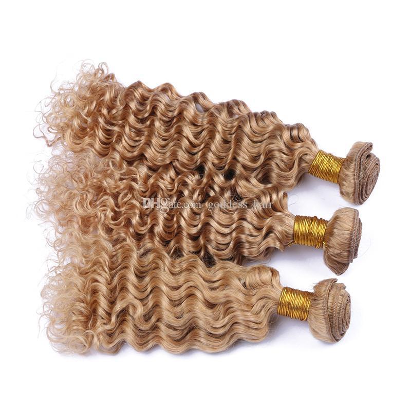 Paquetes de cabello humano de onda profunda Rubio miel # 27 El cabello de onda profunda teje 3 piezas sin procesar doble trama Onda profunda rizada Extensiones de cabello