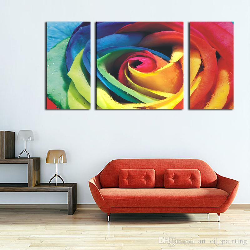 Red Big Colorful Rose Wall Art Peinture Images Impression sur toile Fleur L'image pour la maison Décoration moderne