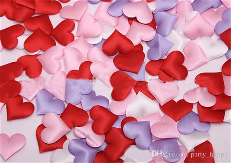 Love Purple Confetti Heart Fabric Wedding Party Confetti Table Decoration Birthday Party Decorative Supplies Desktop Decoration Wedding