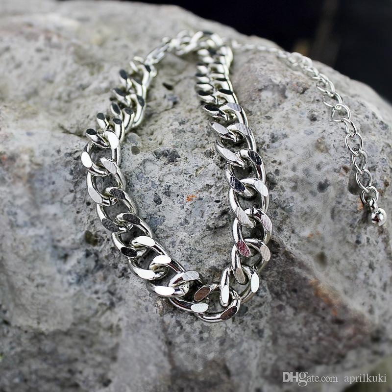 عالية الجودة موضة الذهب والفضة الأسود مطلي سوار الرجال النساء شقة جانبية سلسلة 2016 جديد حار مبيعات المجوهرات أفضل الهدايا