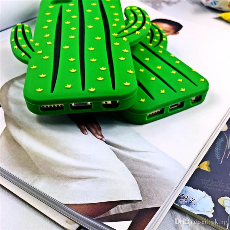 Funny 3D Cactus Phone Case Soft Silicone Rubber Capa for Iphone 6/6s 6/6s Plus Cartoon Back Cover Fandas