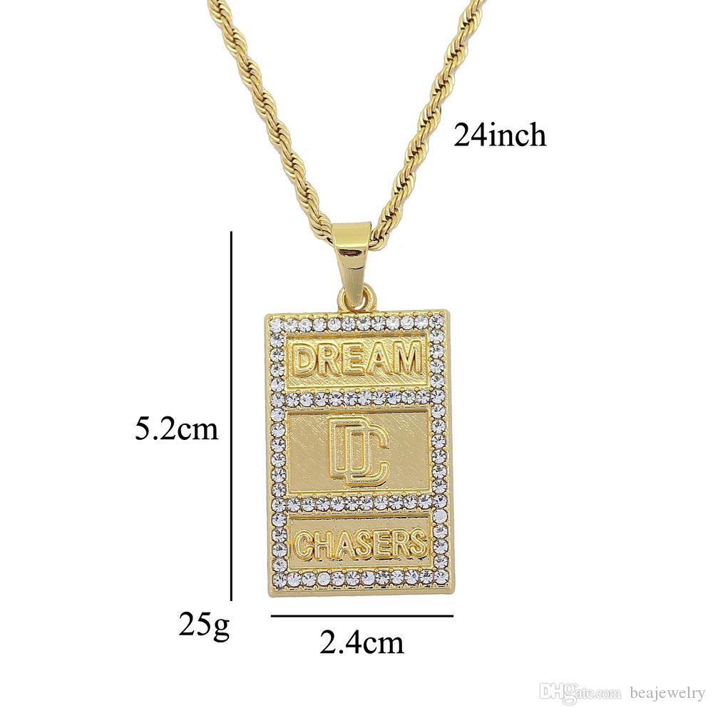 Fashion Hip hop Small Size Stainless Steel Chain Fashion jewelry dreamer DC letters pendants Hip hop Necklaces