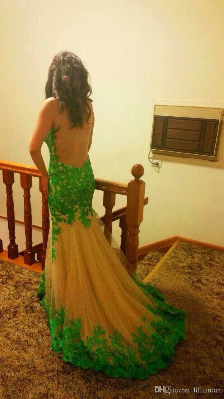 2016 sommer longo Meerjungfrau sexy Abendkleid Mit Durchsichtig Zurück Trompete Mit Ärmellosen Applikationen Tüll weibliche Abendkleider