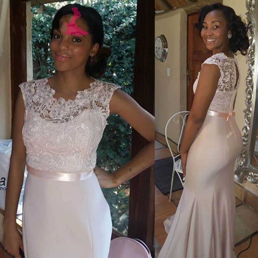Satin Long Bridesmaid Dresses Lace Bridesmaid Dress Vestido Longo Maid Of Honor  Dresses For Wedding Mermaid Bridesmaid Gowns Custom Made Brides Maid Dress  ... 112c6c100156