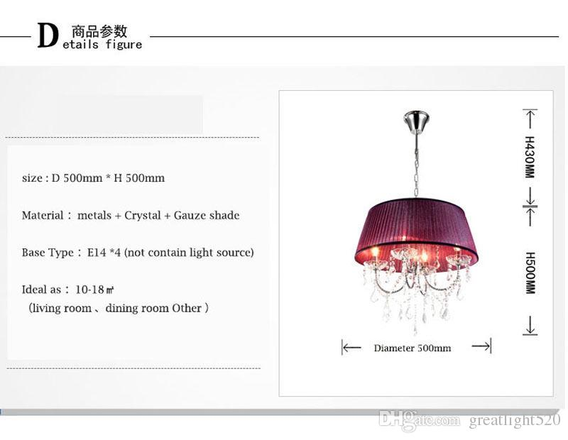 Современные старинные K9 Хрустальная люстра Потолочный светильник моды подвесной светильник с тканью shadeFor Фойе гостиной спальня и столовая # 19
