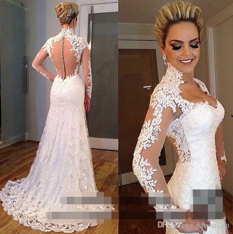 2019 Греческий стиль кружева свадебные платья Турция с длинным рукавом V-образным вырезом поезда покрыты поезда, крытая кнопка русалка свадебные платья с свободной кружевной длинной вуалью