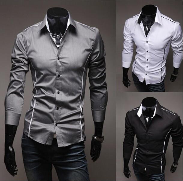 the latest 06c6d ae96d 2017 neue Mode Lässig Männer Hemd Schwarz Weiß Langarm Elastischen Dünnen  männlichen Hemd Männer Einfarbig Mens Dress Shirts Männer Kleidung