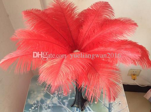 Wholesale 14-16inch White black red pink blue yellow green purple rose Ostrich Feather Plumes for Wedding centerpiece table centerpiece
