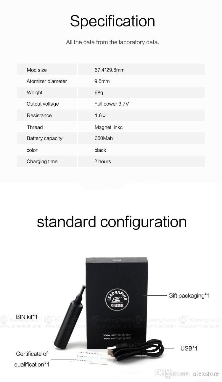 100 % 오리지널 Kamry 빈 전자 담배 스타터 키트 기름 BUD 상자 모드 키트 0.5 ml CE3 Atomizers 휴대용 미니 Vaporizers