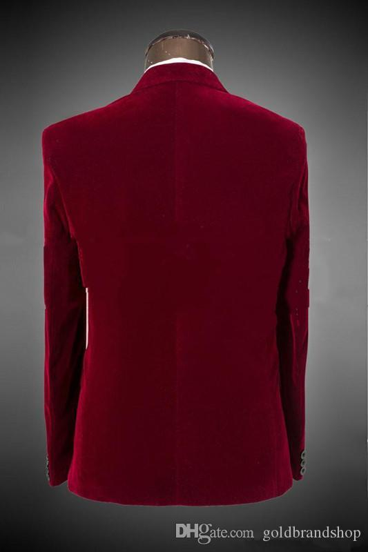 Classic Fit Peak Lapel One Button Dark red Groom Tuxedos Wedding Party Groomsman Suit Wedding Party Suit Jacket+Black Pants+Tie