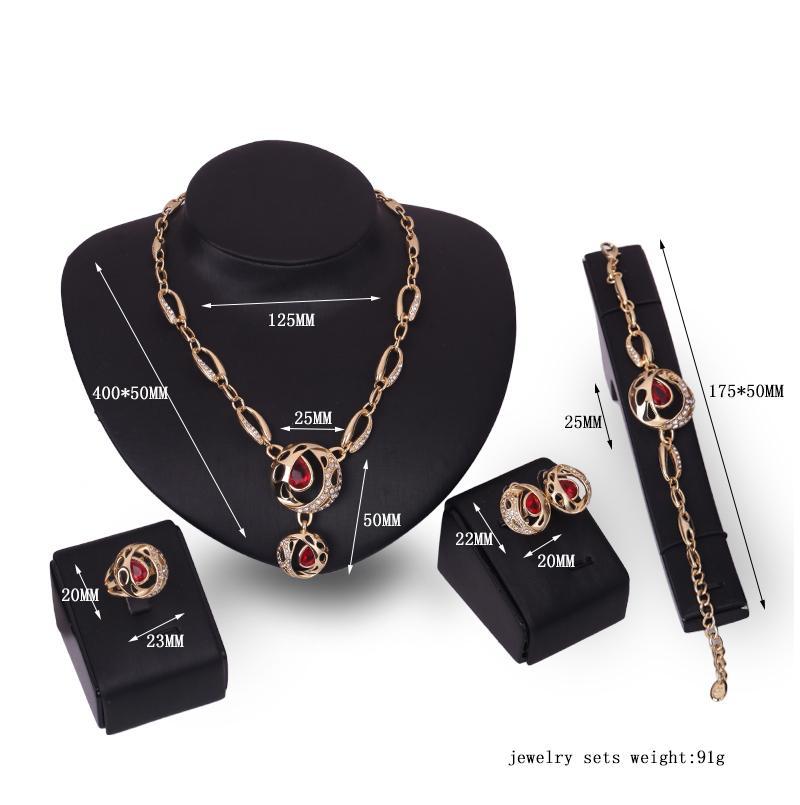 Ohrringe Halskette Armband Ring Schmuck Set Exquisite Mode Womne Strass 18K Gold Plated Party Schmuck 4-teiliges Set Großhandel JS237