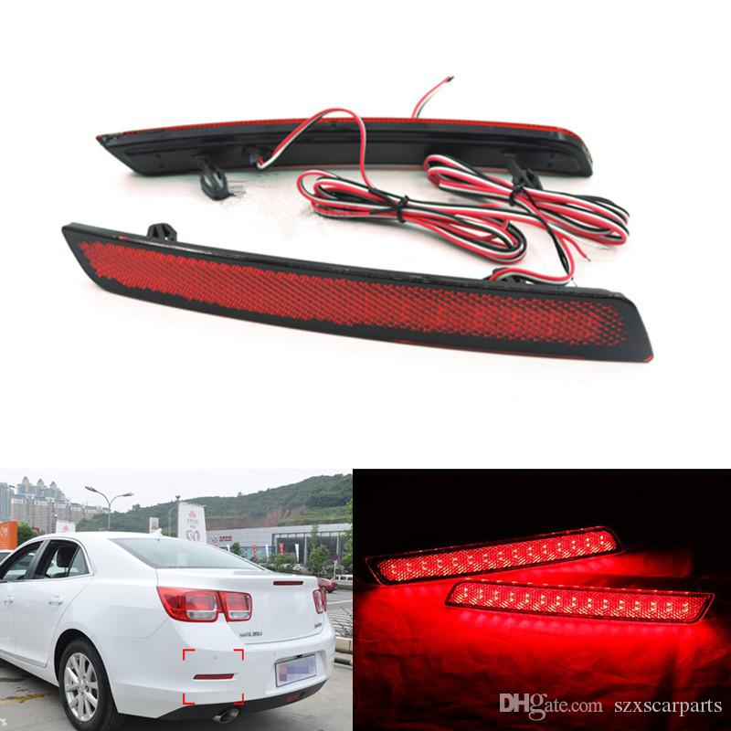 2x LED Car styling Red Rear Bumper Reflector Luz de niebla Parking Warning Luz de freno Stop Bulbs Lámpara de cola para Chevrolet Malibu