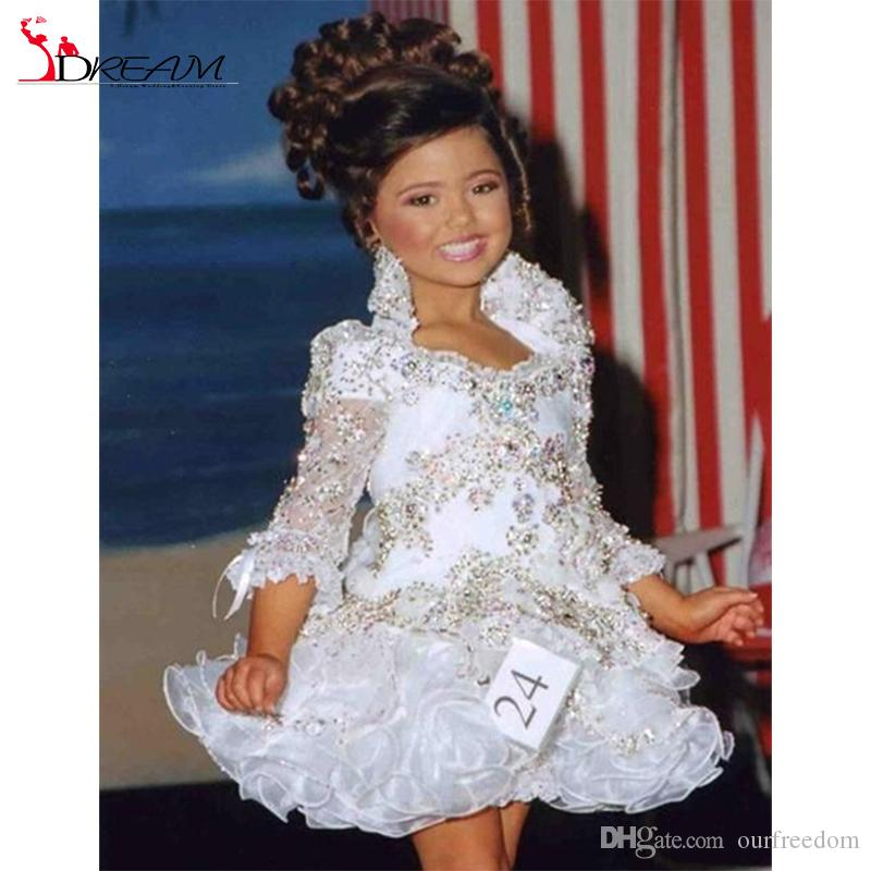 Real Little Girl Gowns 3/4 Sleeve Beads Crystal Rhinestone Ruffles Short Flower Girl Dress 2016 White Glitz Pageant Dress