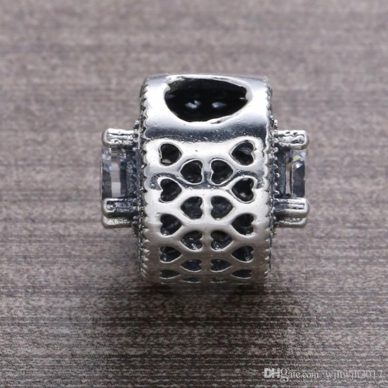 New Vintage Allure Openwork Charm Beads Authentic 925 Sterling Silver Crystal Pave Flower Beads DIY Bracelets Jewelry Making Accessories
