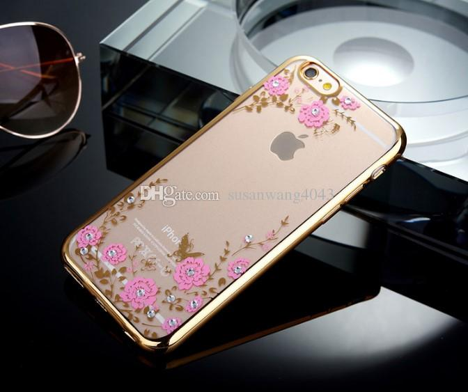 Rhinestone phone case for iPhone 7 6 6s plus Electroplating TPU soft flower design with diamond Slim Protective Back Cover ship GSZ026