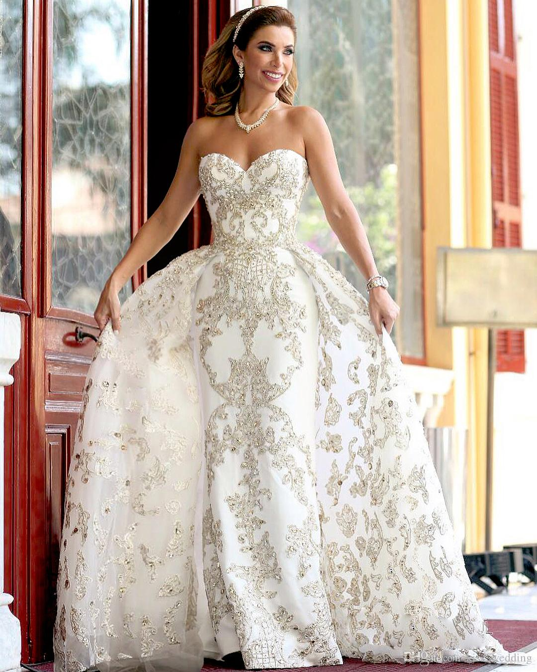91493c384d0d0 Bling Bling Beads Long Wedding Dresses Bridal Gowns Detachable Train  Overskirts Sweetheart Sheath Wedding Gown Appliqued Lace Crystals Halter  Neck Wedding ...
