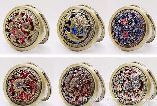 Vintage Peacock Peafowl Metal Portátil Espejo de bolsillo Dos lados Doblado Maquillaje Espejo Cosmético Maquillaje Espejo