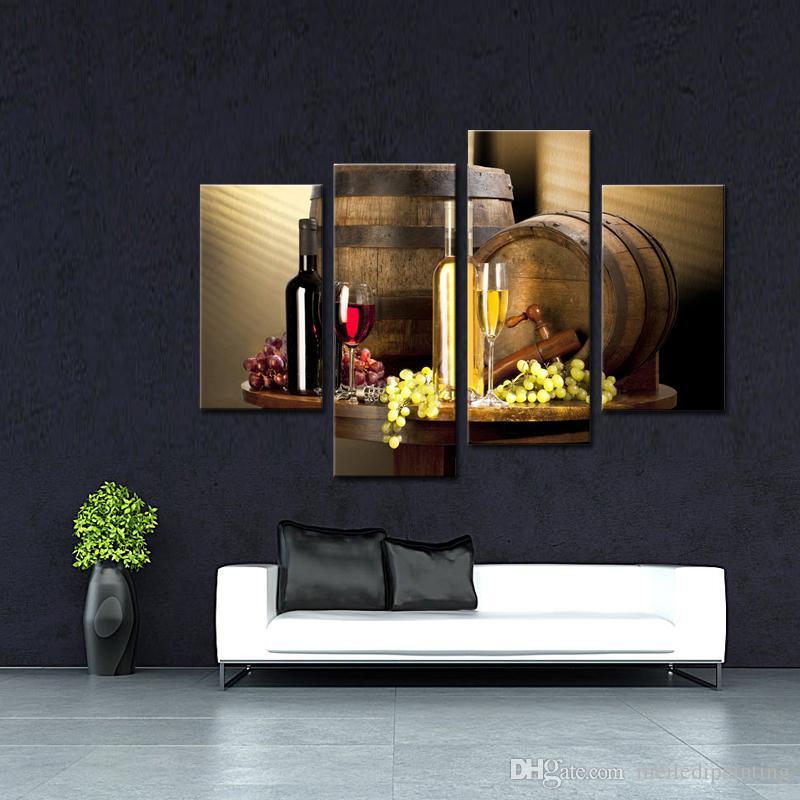 4 peças de vinho e frutas com vidro e barril arte da parede pintura de fotos de impressão em tela de alimentos para decoração de casa de madeira moldado pronto para pendurar