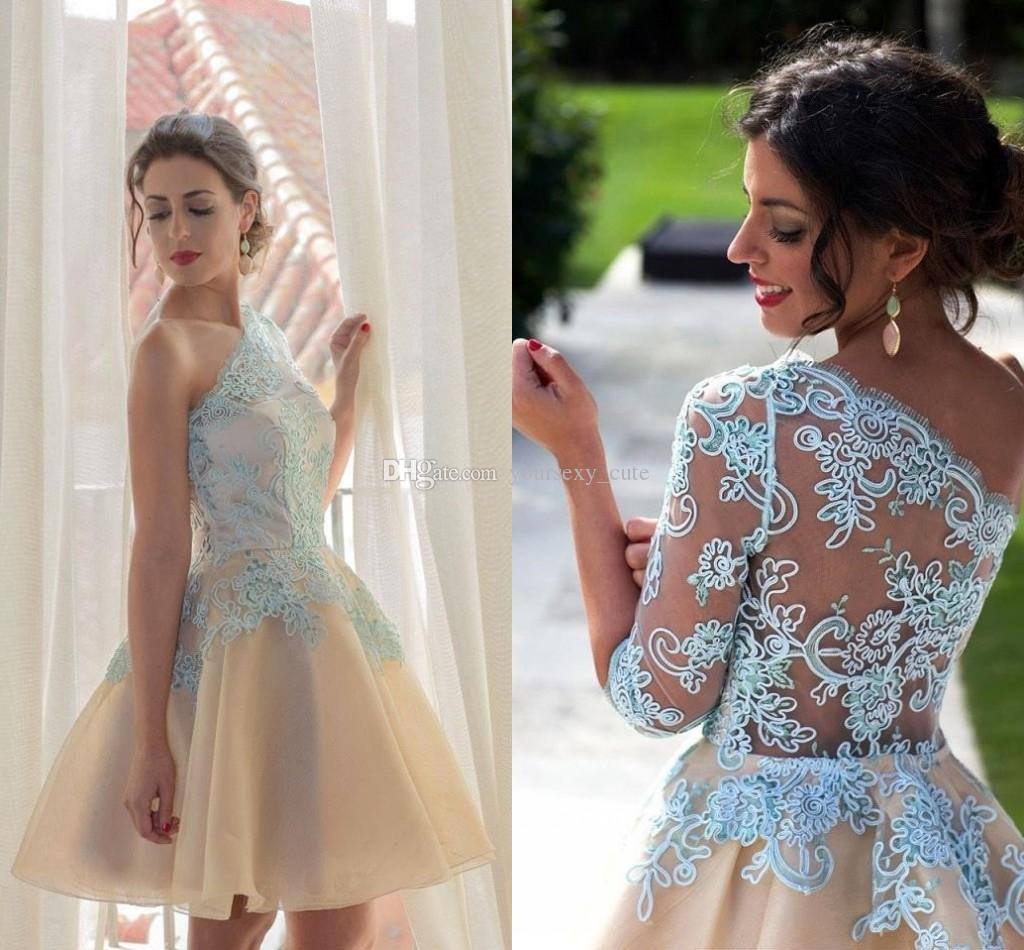 956609a93e4f Single Long Sleeves Lace Prom Dresses One Shoulder Organza Light Blue Short  Cocktail Dresses Evening Party Gowns See Through Back Glitz Prom Dresses  Greek ...