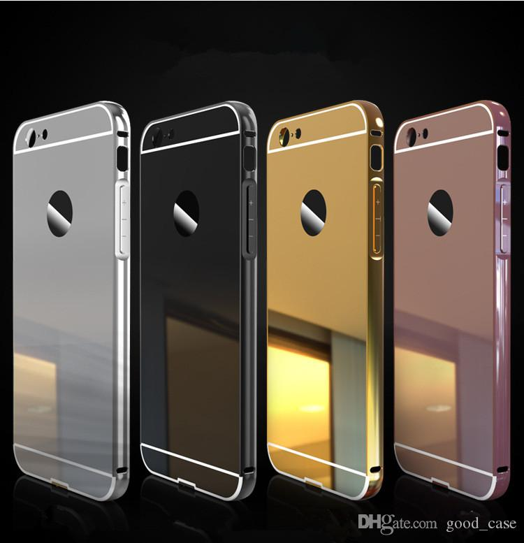 For Iphone 7 Case Hybrid 2 In 1 Aluminum Metal Mirror Bumper Frame Cases  With Back Clear Plate Cover For Iphone 5 5s Se 6 6S Plus 7 7 Plus Cell  Phones ... 9ef83b42a6