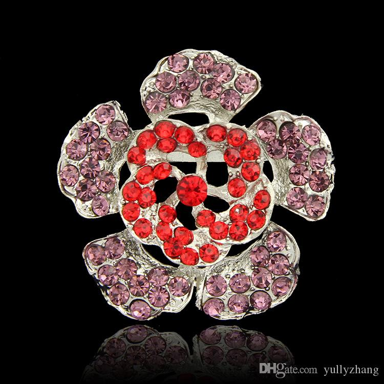 Cheapest High Quality Platinum vintage brooch RED Plated Flower White Simulated Pearl Brooch Bouquet for Wedding B058